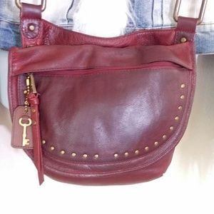 Fossil Oxblood Leather Crossbody Bag